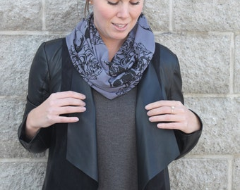 SALE *Was 29* Tattooed Sailor Print, Circle Scarf, Screen printed Infinity Scarf, Anchor, Skull, Diamonds, Flowers, Made in Canada