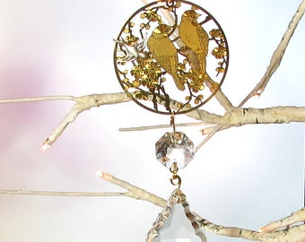Bird Filigree, Crystal Prism Sun Catcher & Christmas Ornament, S1-89