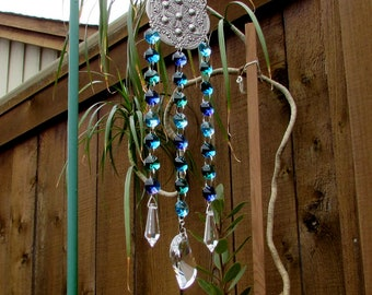 Teal, Aqua, Sapphire, Crystal Prism Suncatcher, Mother's Day Gift, 3S-6