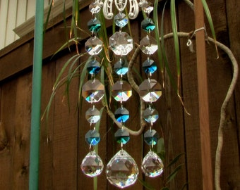 Butterfly Aqua, Teal, Crystal Prism Suncatcher, Mother's Day Gift, 3S-8