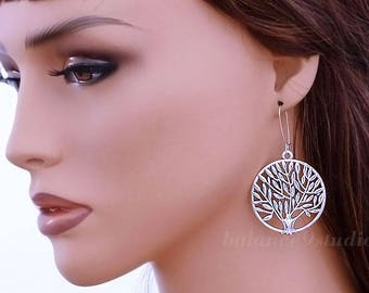 Tree of life earrings, silver tree earrings, large round disc earrings, holidays gift, everyday jewelry