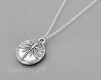 Dragonfly necklace, Silver disc necklace, Dragonfly charm pendant necklace, holidays gift, everyday jewelry, by balance9