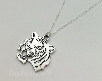 Beauty Gift Tiger Head Close-up King Animal Wild Necklaces Pendant Retro Moon Stars Jewelry