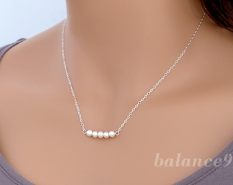 Row of pearls necklace, Sterling silver pearl bar necklace, delicate everyday, bridesmaid wedding jewelry, by balance9