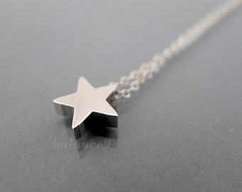 Silver star necklace etsy silver star necklace sterling silver chain small charm necklace minimalist simple star pendantdelicate jewelry gift by balance9 aloadofball Images