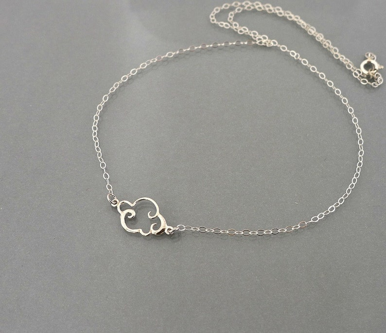 Cloud Necklace Silver or Gold lining cloud necklace small image 0