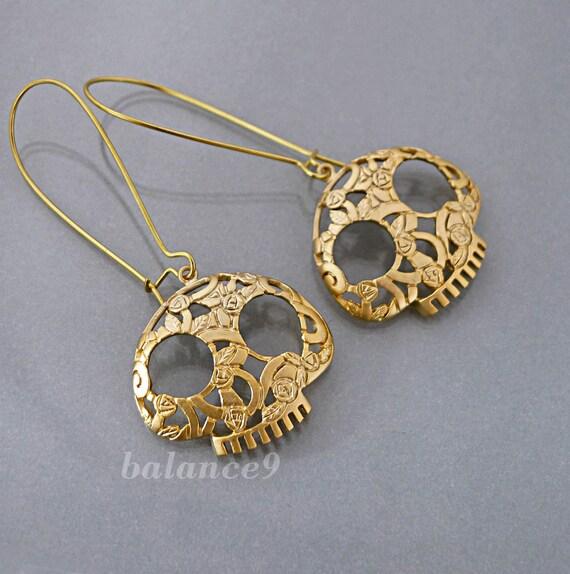 e874d14b0 Skull Earrings sugar skull earrings Gold skull dangle | Etsy