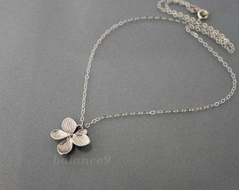 Silver flower necklace, Azalea pendant necklace, Sterling chain, delicate bridesmaids wedding jewelry, christmas gift, by balance9