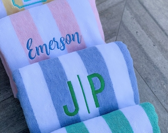 """Custom Embroidered Cabana Beach Towels, 30x70"""", monogrammed, personalized, bridal gift, pool party gift"""