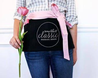 custom apron (SHORT) : vendor apron, custom embroidery, wedding planner apron, florist apron, stylist apron, crafter apron