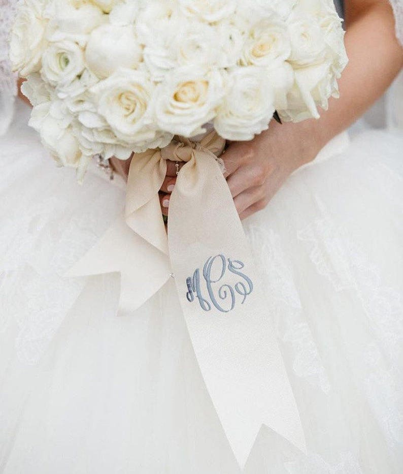 custom monogrammed bouquet ribbon 3 wide grosgrain image 0