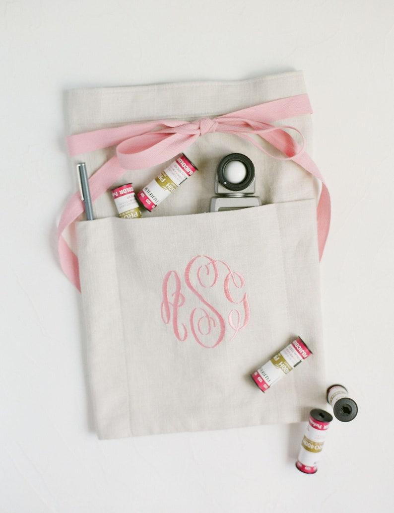 monogrammed half apron : vendor apron, custom embroidery, florist apron,  event planner apron, photographer apron, bridal shower gift,