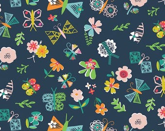 Dashwood Studio - Club Tropicana - Floral and Butterflies on Blue - Cotton Fabric (Quilting/Dressmaking)