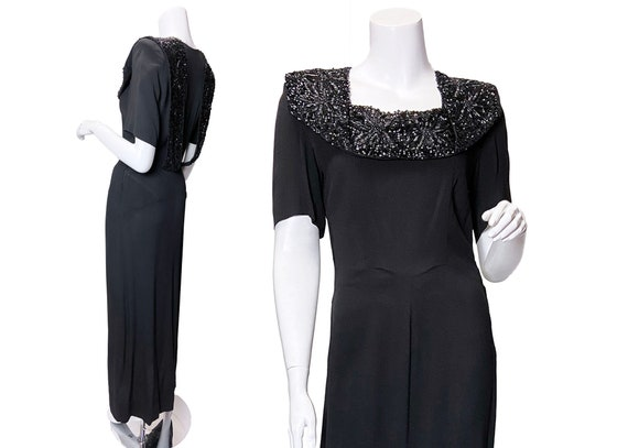 1940s Sequined Rayon Dress