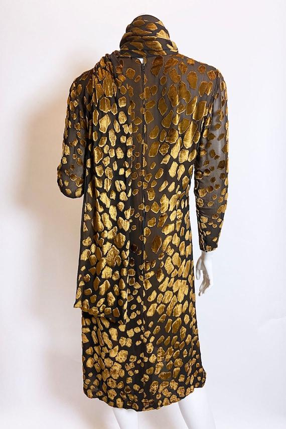 1980s Pauline Trigere Devore Velvet Scarf Dress - image 6