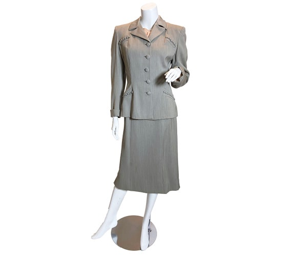 1940s Grey Wool Gabardine Suit