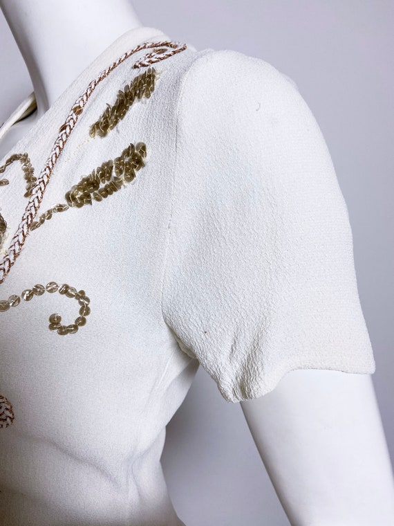 1940s White Rayon Sequin Dress and Jacket Set - image 5