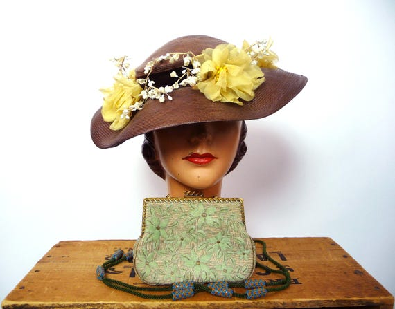 1940s Balibuntal Straw Tilt Hat with Flowers - image 9