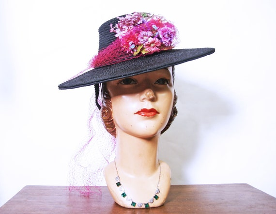 1940s Black Straw Tilt Hat