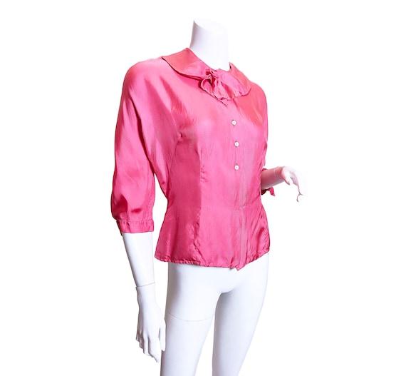 1950s Pink Silk Blouse