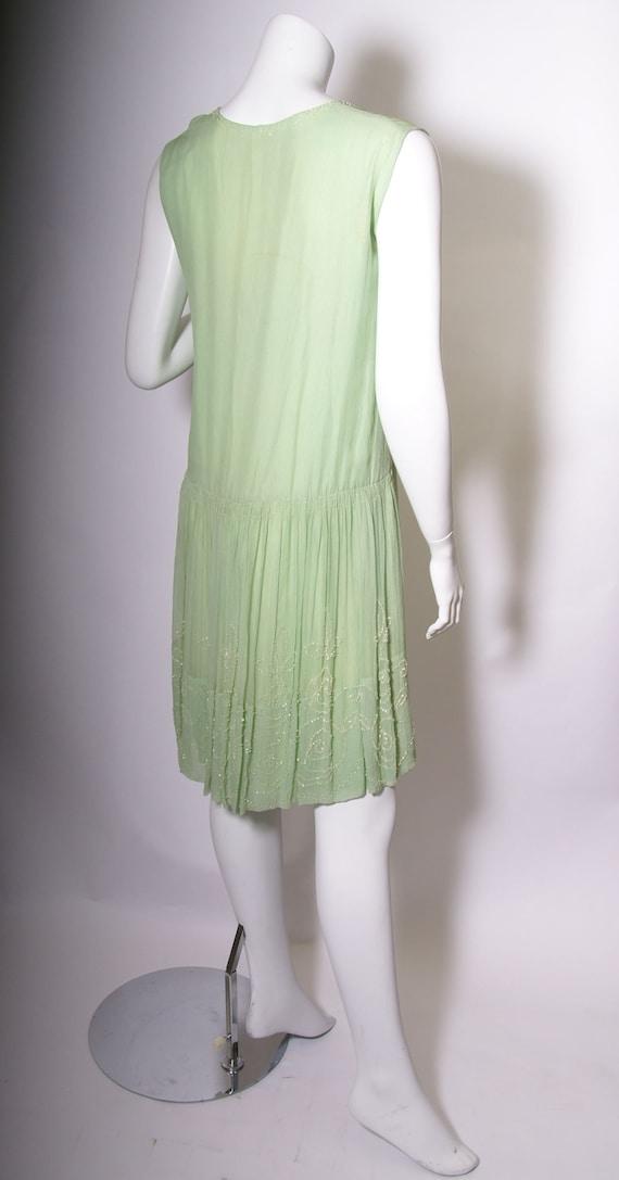 1920s Green Beaded Silk Chiffon Dress - image 2