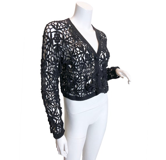 1970s Black Crochet Cardigan