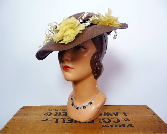 1940s Balibuntal Straw Tilt Hat with Flowers - image 2