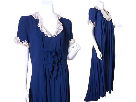 Early 1940s Blue Rayon Dress or Negligee with Lace