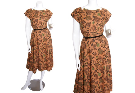 1960s Earthtone Cotton Floral Dress