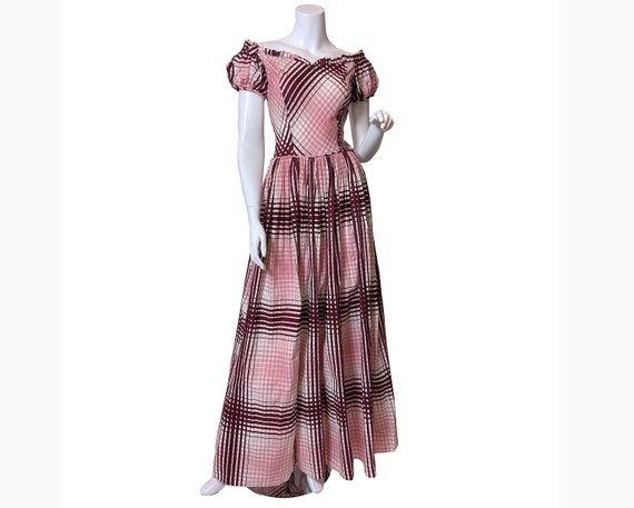Early 1940s Cotton Plaid Maxi Dress