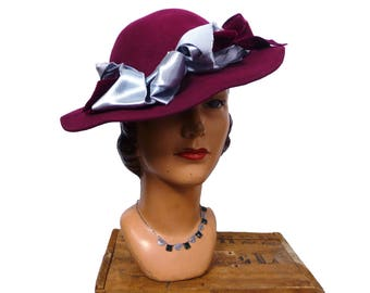 1940s Ruby Ross Burgundy Felt Hat
