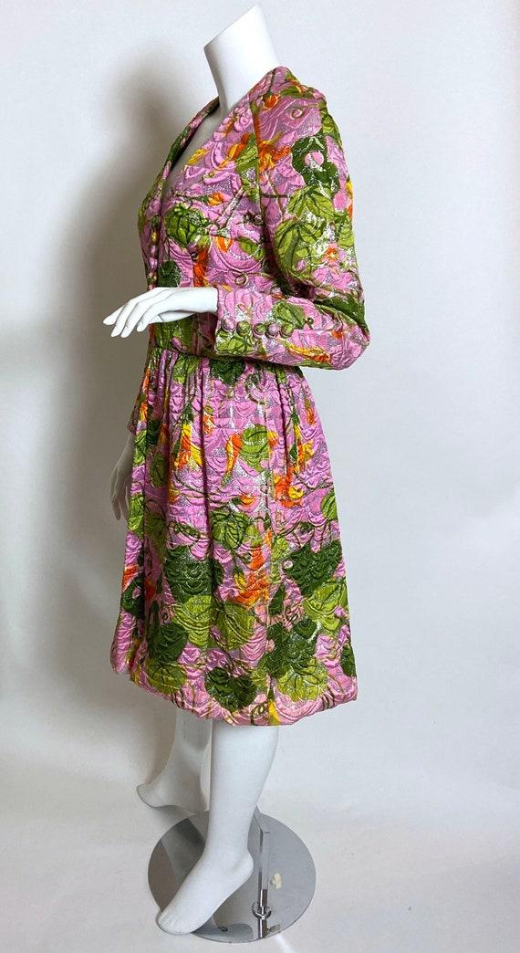 1960s  Metallic Pink Satin Brocade Dress Saks Fif… - image 2