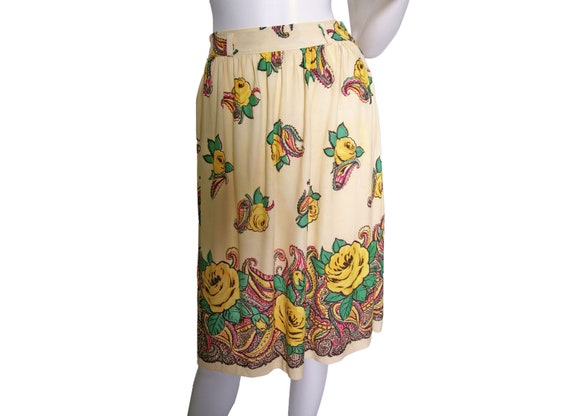 1940s Rayon Jersey Knit Printed Skirt