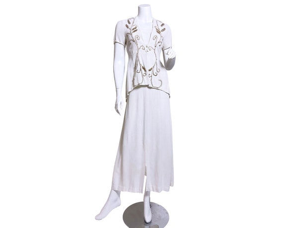 1940s White Rayon Sequin Dress and Jacket Set