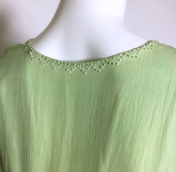 1920s Green Beaded Silk Chiffon Dress - image 9