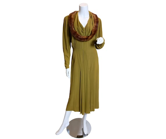1930s Green Rayon Mink Trimmed Dress