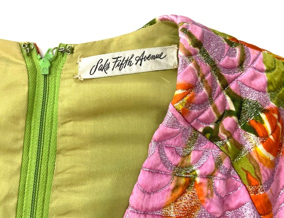 1960s  Metallic Pink Satin Brocade Dress Saks Fif… - image 6