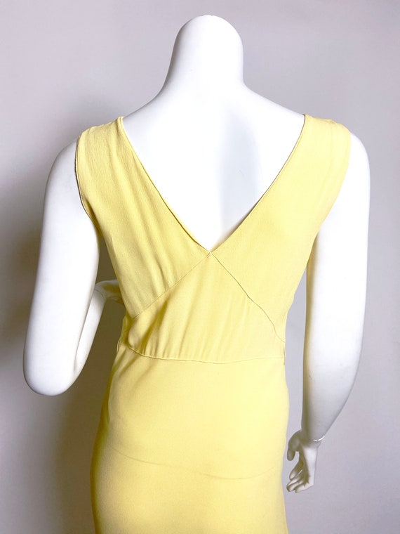 1930s Yellow Floral Rayon Bias Cut Slip Dress - image 8