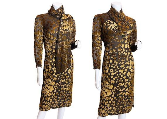 1980s Pauline Trigere Devore Velvet Scarf Dress