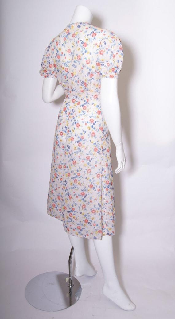 1930s Swiss Dot Cotton Floral Print Dress - image 4