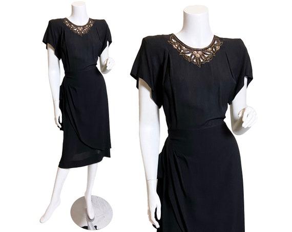 1940s Grovine Black Rayon Dress