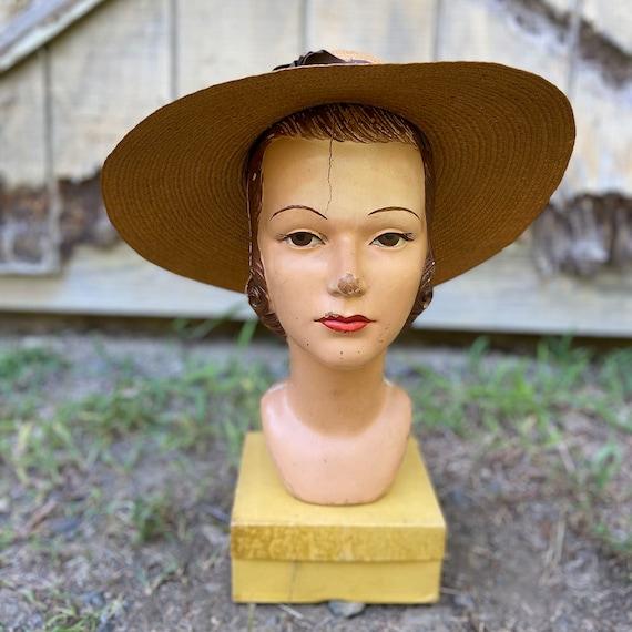 1940s Natural Straw Wide Brim Sun Hat - image 5