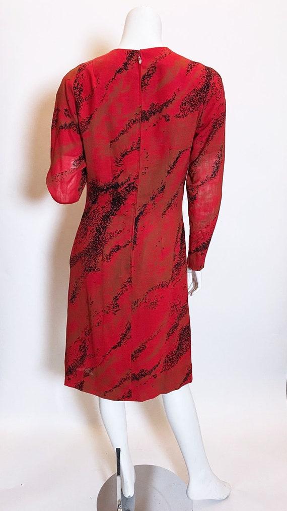 1980s Pauline Trigere Wool Printed Dress - image 3