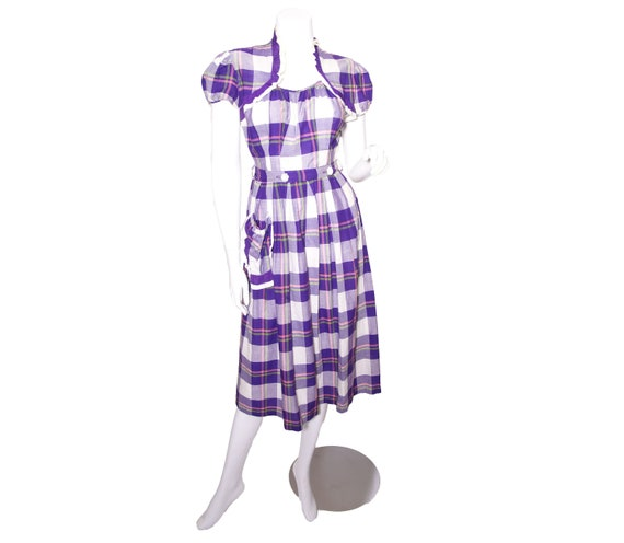 1940s Purple Plaid Cotton Day Dress