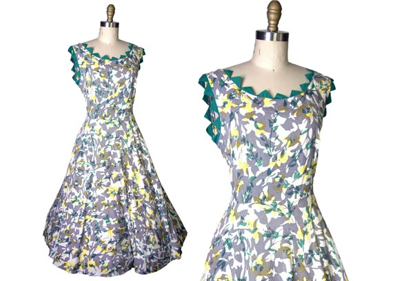 1950s Abstract Floral Print Cotton Day Dress
