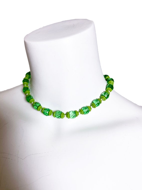 1930s Green Faceted Glass Necklace