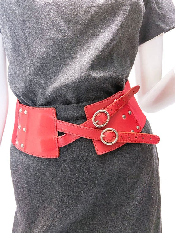 1990s Red Leather Stretch Belt
