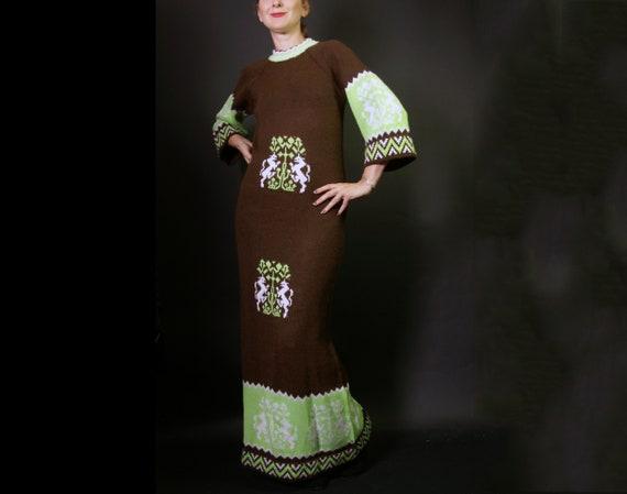 1970s Wool Unicorn Knit Sweater Dress