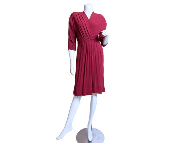 1940s Red Rayon Crepe Dress