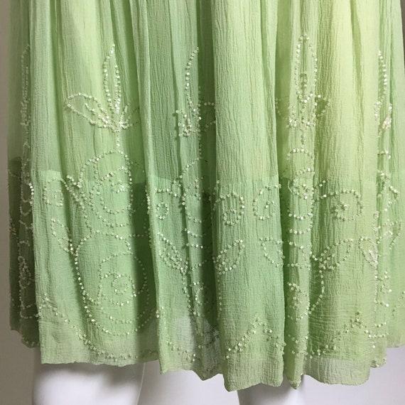 1920s Green Beaded Silk Chiffon Dress - image 5